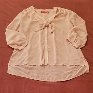 Elle Sheer High-Low Button Down Blouse